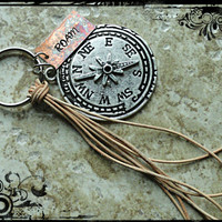 Roam Copper and Silver Compass Charm Hand Stamped Keychain Key Fob