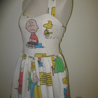 Custom Made to Order Peanuts Charlie Brown Woodstock Snoopy Lucy Linus Characters Geekery SweetHeart Pin up Dress