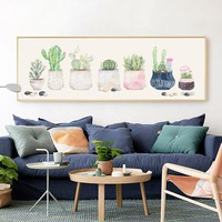 Modern Watercolor Cactus Banner Canvas Painting Posters And Prints Pictures Wall Art Living Room Bedroom Bedside Home Decoration