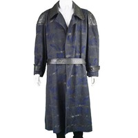 Patterned Wool Coat with Leather Trim, 1980s