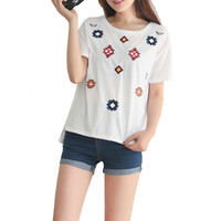 Women embroidery geometric pattern loose T shirt vintage short sleeve o neck cute tops white black casual summer tees