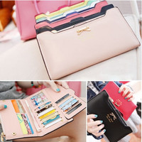 Korean Cute Style Lady Sweet Bow Multi- Card Handbag Long Wallet Card Wallet = 1706053700