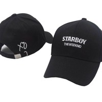 The Weeknd Starboy and Stargirl XO Black Embroidered Cotton Dad Hat