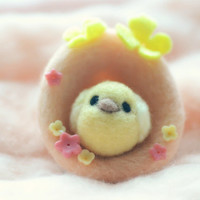 Soft sculpture chick in egg shape nest, needle felted peach color wool egg with yellow chick / bird, needle felt chick & egg home decor