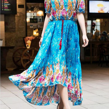 Blue Tribal Print Off Shoulder High Low Maxi Dress