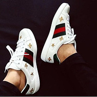 Gucci Shoes Flat Classic Breathable Print Shoes Green Red Stripe Stars Shoes
