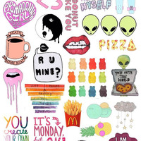 Set #2. Mockup printable Tumblr Stickers, Stickers, Set of stickers. Decals. Instant Download PDF and PNG Files