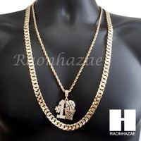 """ICED OUT #1 BASKETBALL ROPE CHAIN DIAMOND CUT 30"""" CUBAN LINK CHAIN NECKLACE S61"""