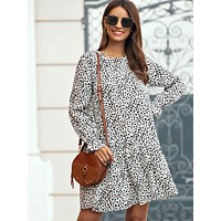 Dalmatian Flounce Sleeve Smock Dress