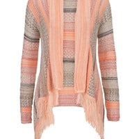 Open Stitch Striped Blanket Cardigan With Fringe - Coral