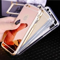 5 5S SE 5SE 6 6S 6Plus Slim Soft Clear TPU Silicon + Plating Mirror Case Coque For iPhone 6 6S iPhone6 6 S Plus Phone Back Cover