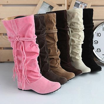 Tassel Flock Tall Boots for Women 6273