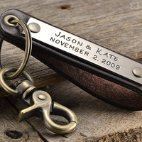 Personalized Leather Keychain Accessory - Anniversary Gift For Men - Handmade in USA