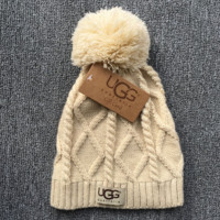 Autumn Winter UGG Soft Cotton Knit Beanies Hat- Beige