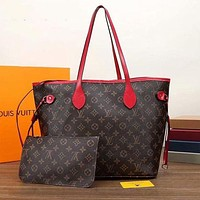 LV Louis Vuitton Neverfull GM Monogram Canvas Shopping Bag Mother Bag Two-piece Set
