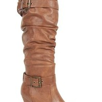 tall high heel slouch boot with round toe and buckles