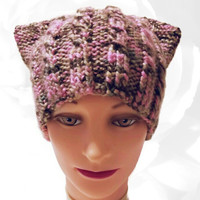PussyHat, Pink PussyHat, Pussy Hat, Green PussyHat, Brown PussyHat, Cat Hat, Pink Hat, Green Hat, Brown Hat, Knitted Hat, Winter Hat, OOAK