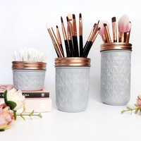 Grey Mason Jar, grey and rose gold, makeup brush holder, makeup storage, grey desk accessories, dorm decor, girls desk decor, grey nursery