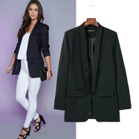 Fashion Women Slim Long Sleeve Solid Business Casual Suit Outerwear Jacket Top a13011