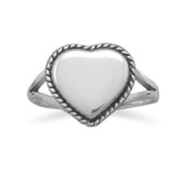 Polished Heart with Rope Edge Ring