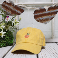 PEACH Baseball Hat Low Profile Embroidered Baseball Caps Dad Hats Burnt Yellow