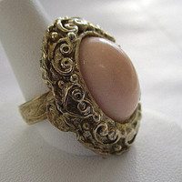 Chunky Pale Pink Stone Adjustable Cocktail Ring