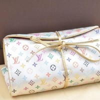 Auth Louis Vuitton Monogram Multicolor Satin Trousse Bijoux Jewellery Case 43097