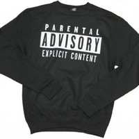 21 Century Clothing Unisex-Adult Parental Advisory Sweater Large Black