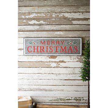Painted Metal Merry Christmas Sign