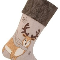 Image: Manor Luxe Cozy Reindeer Christmas Stocking, Natural - Rustic ...