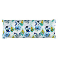 Poppies and Peacocks Body Pillow