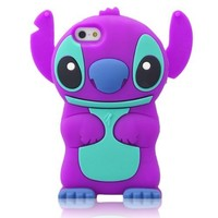 DE Cute 3D Cartoon Animal Series Apple iPhone 5C Case New Purple 3D Cartoon Stitch Movable Ear Shape Style Soft Silicone Rubber Case Protective Cover for Apple iPhone 5C