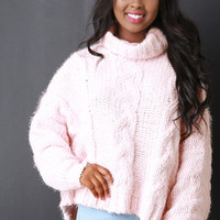 Cable Knit Turtle Neck Sweater in Pink