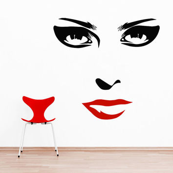 Makeup Wall Decal Vinyl Sticker Decals Home Decor Design Mural Make up Eyes Girl Woman Lips Cosmetic Hairdressing Hair Beauty Salon AN662