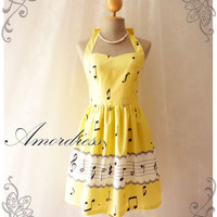 Music Lover - Yellow Dress Summer Retro Party Cocktail Bridesmaid Birthday Concert Anniversary Event All Party Every Day Dress