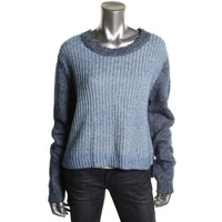 Tibi Womens Marled Long Sleeves Pullover Sweater