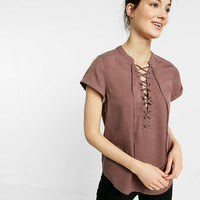 Petite Short Sleeve Lace-Up Tee