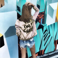 "Nude Color ""Only Queen"" Letter and Crown Print Jacket"