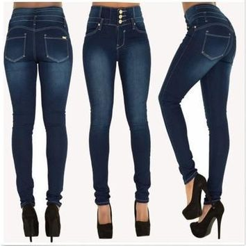 Plus size 2016 Skinny Thin High Waist Pencil Pants Women Elastic Sexy Denim Jeans Trousers [8833671948]