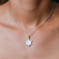 Opal necklace, silver necklace, star of david necklace, magen david necklace, white opal necklace, silver opal necklace, opal jewelry