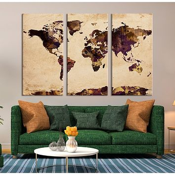 Watercolor World Map on Old Paper Wall Art Canvas Print Old Paper World Map No:062
