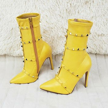 Mark Pyramid Stud Strap High Heel Pointy Toe Stretch Ankle Boots Yellow