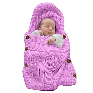 XMWEALTHY Newborn Baby Wrap Swaddle Blanket Knit Sleeping Bag Receiving Blankets Stroller Wrap for Baby(Pink) (0-6 Month) Pink-purple