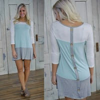 Only With You Tunic (Ivory/Mint/Grey) - Piace Boutique