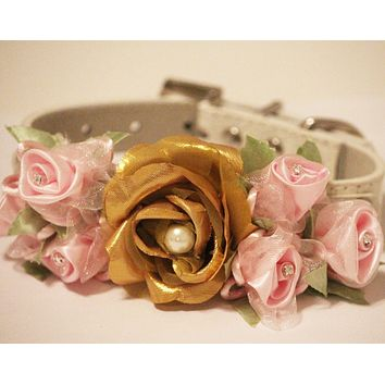 Gold Pink Floral Collar, Gold & Pink Flower with Rhinestones and Pearl, Pet Wedding Accessory, Dog Lovers, Love Pink , Wedding dog collar