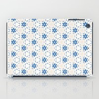Acrylic Blue Floral Triangles iPad Case by Doucette Designs