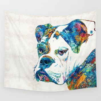Colorful English Bulldog Art By Sharon Cummings Wall Tapestry by Sharon Cummings