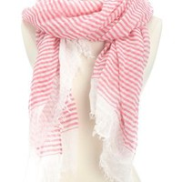 Oversized Striped Fringe Scarf by Charlotte Russe