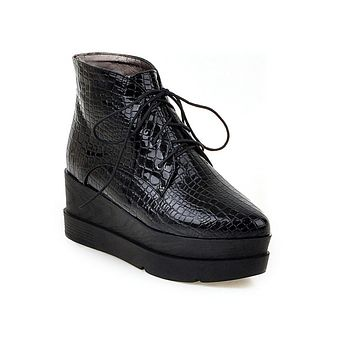 Lace Up Serpentine Pattern Women Ankle Boots Platform Wedges Shoes 75959730