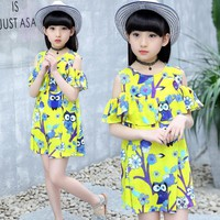 2017 New girls costume fashion European style dresses for girls summer 3-12T big child clothing Knee-length dresses